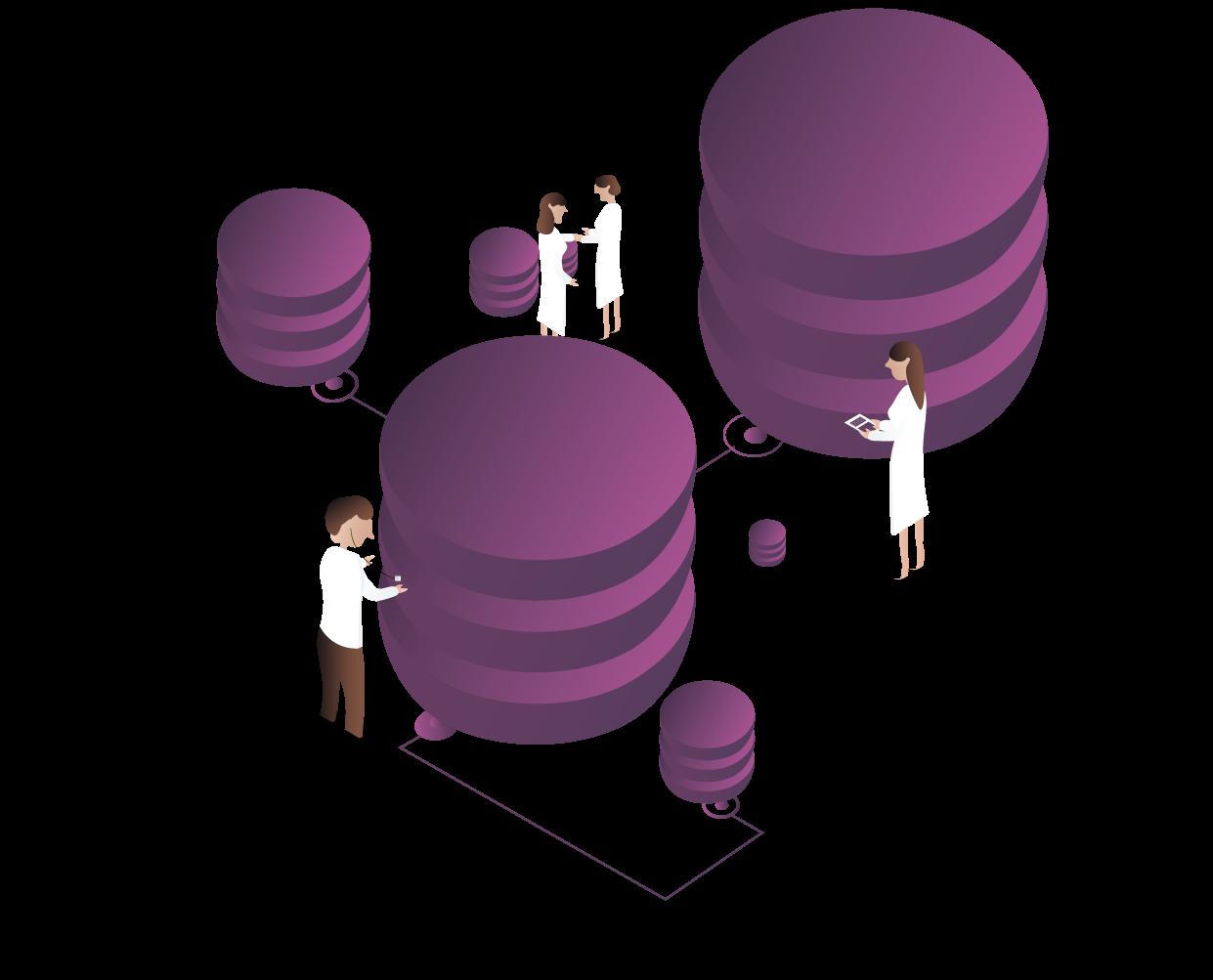 Illustration af læger, der vurderer helbredet i en database